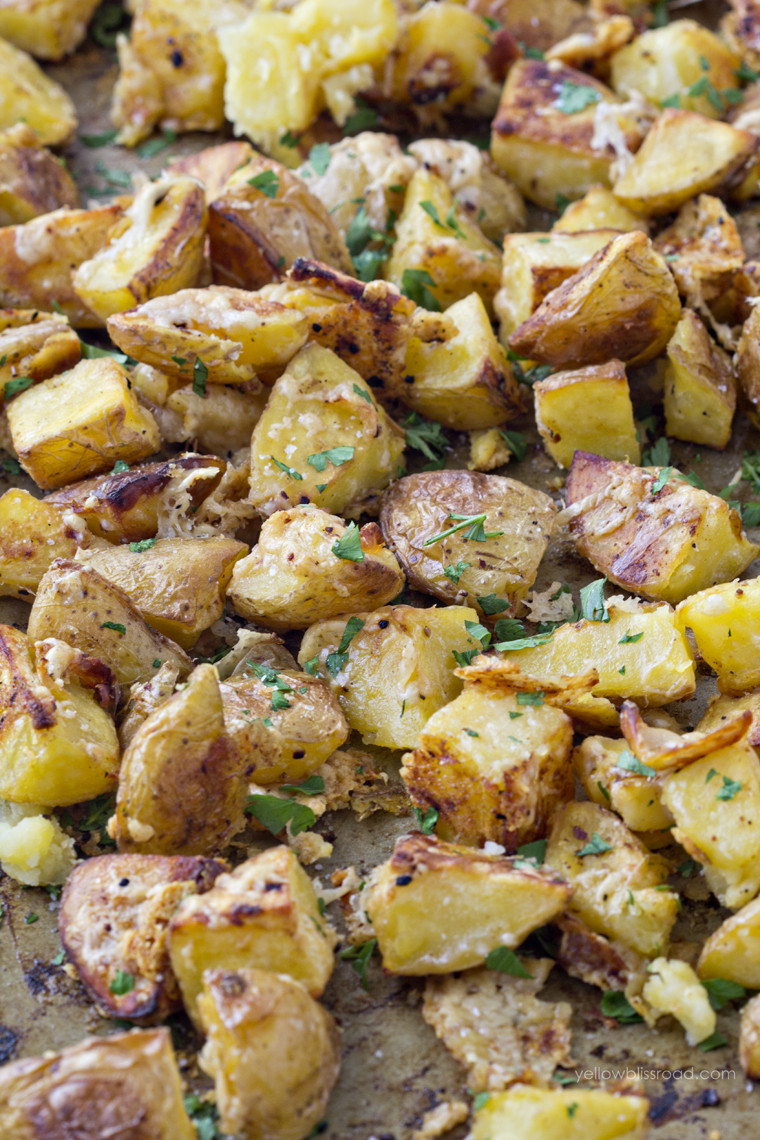 Roasted Parmesan Potatoes  Oven Roasted Parmesan Garlic Potatoes Yellow Bliss Road
