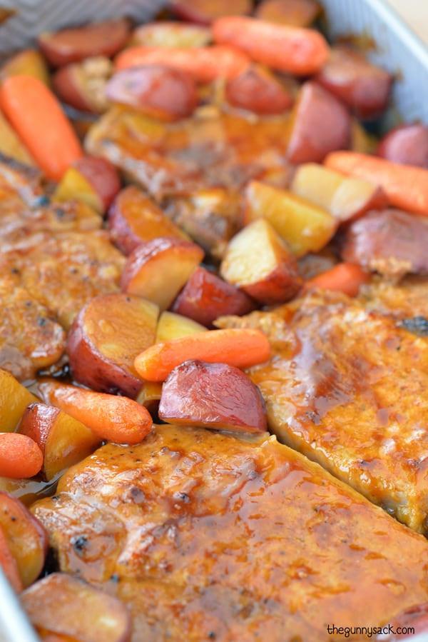 Roasted Pork Chops  pork chops potatoes carrots dutch oven