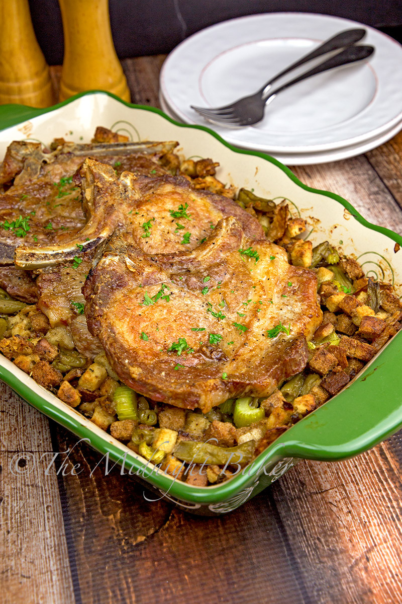 Roasted Pork Chops  Roasted Pork Chops with Savoury Stuffing The Midnight Baker