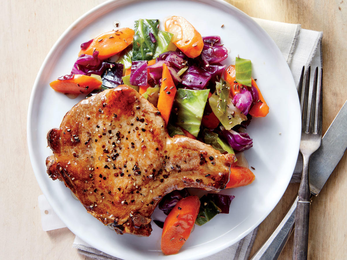 Roasted Pork Chops  Pan Roasted Pork Chops with Cabbage and Carrots Recipe