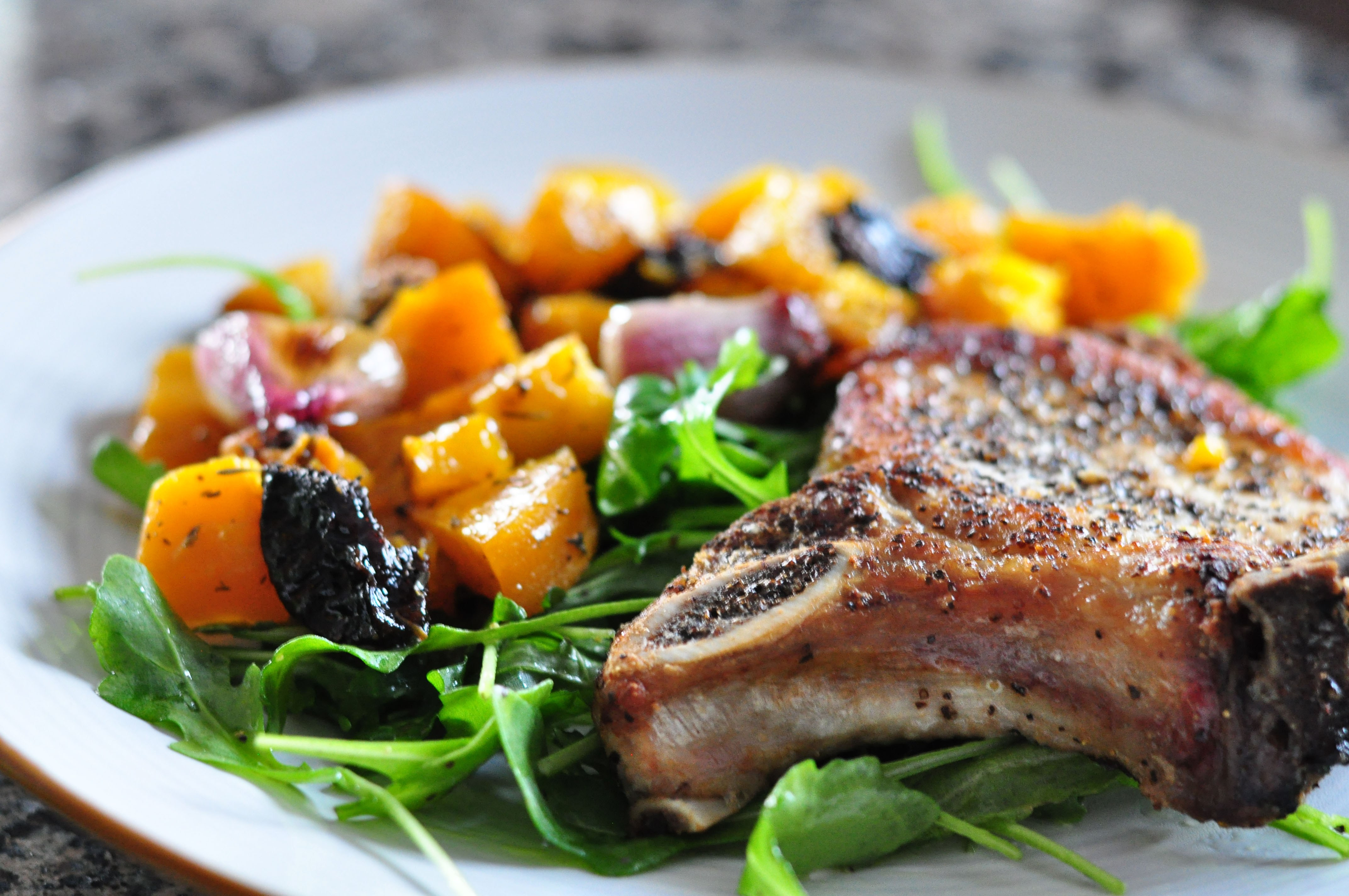 Roasted Pork Chops  Oven Pork Chop Pan Roast & Butternut Squash