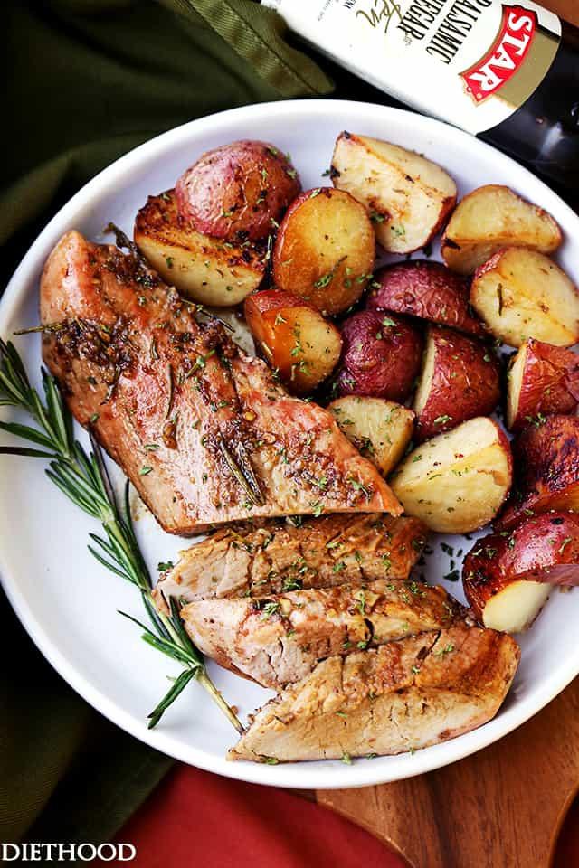 Roasted Pork Loin  Garlic and Rosemary Balsamic Roasted Pork Loin Recipe