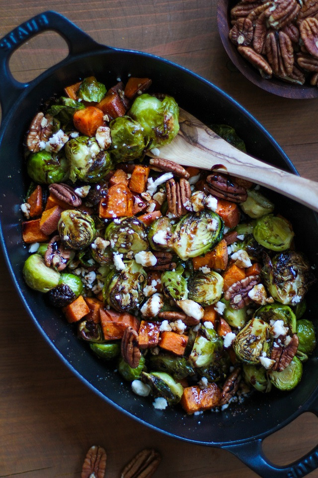 Roasted Potatoes And Brussel Sprouts  Roasted Brussels Sprouts Sweet Potatoes And Bacon Recipe