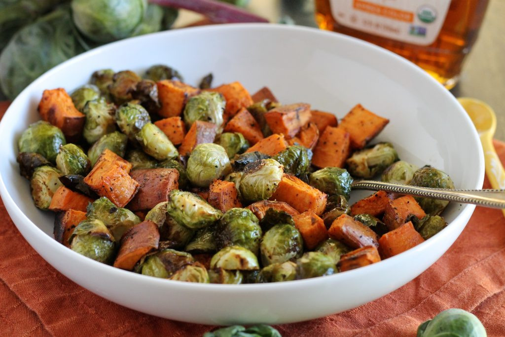 Roasted Potatoes And Brussel Sprouts  Maple Roasted Brussels Sprouts and Sweet Potatoes Recipe
