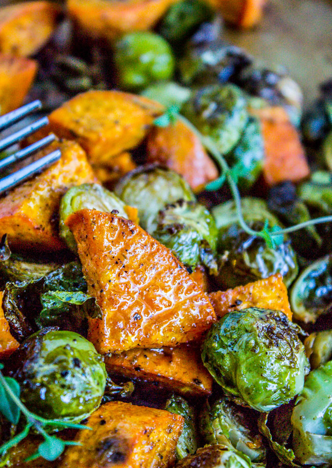 Roasted Potatoes And Brussel Sprouts  Roasted Sweet Potatoes and Brussels Sprouts The Food