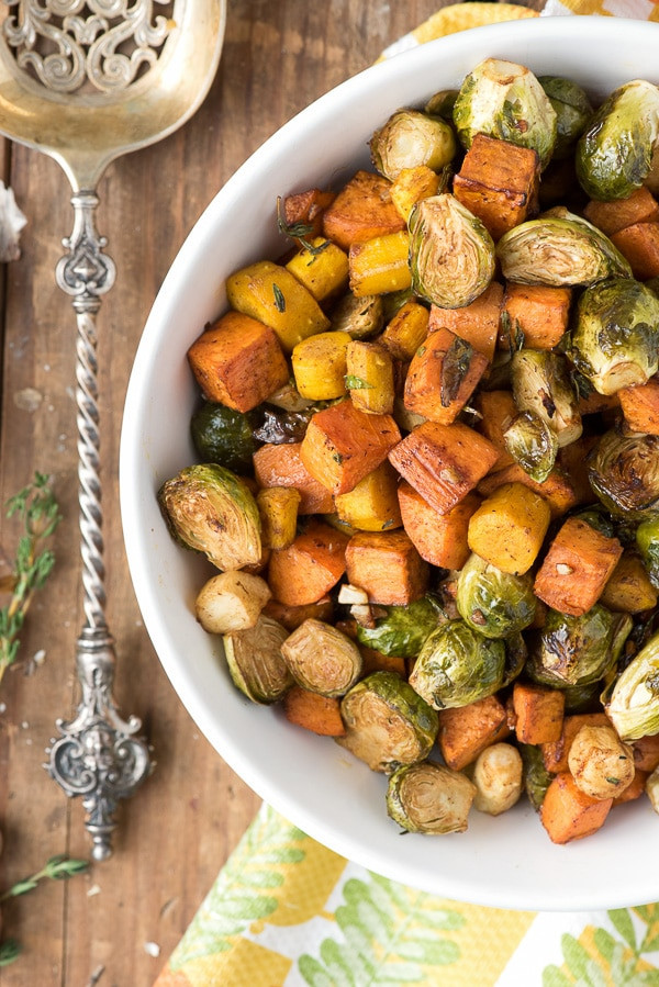 Roasted Potatoes And Brussel Sprouts  Herb Roasted Garlic Brussels Sprouts Sweet Potatoes and