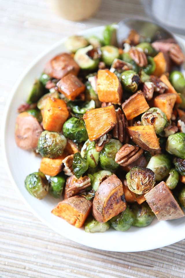 Roasted Potatoes And Brussel Sprouts  Roasted Sweet Potatoes and Brussels Sprouts with Pecans