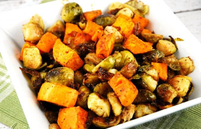 Roasted Potatoes And Brussel Sprouts  Roasted Brussel Sprouts and Sweet Potatoes Recipe 4