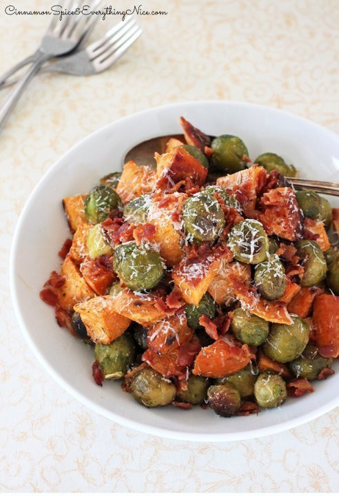 Roasted Potatoes And Brussel Sprouts  Roasted Brussels Sprouts Sweet Potatoes and Bacon