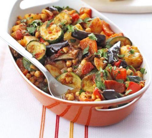 Roasted Summer Vegetables  Roast summer ve ables & chickpeas recipe
