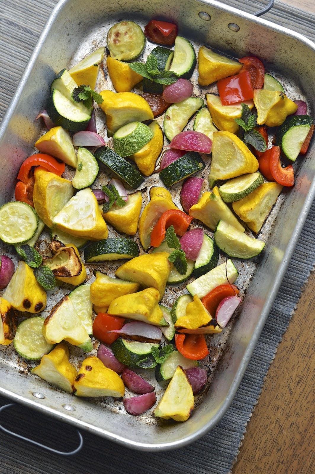 Roasted Summer Vegetables  Roasted Summer Ve ables with Lemon Tahini Dressing