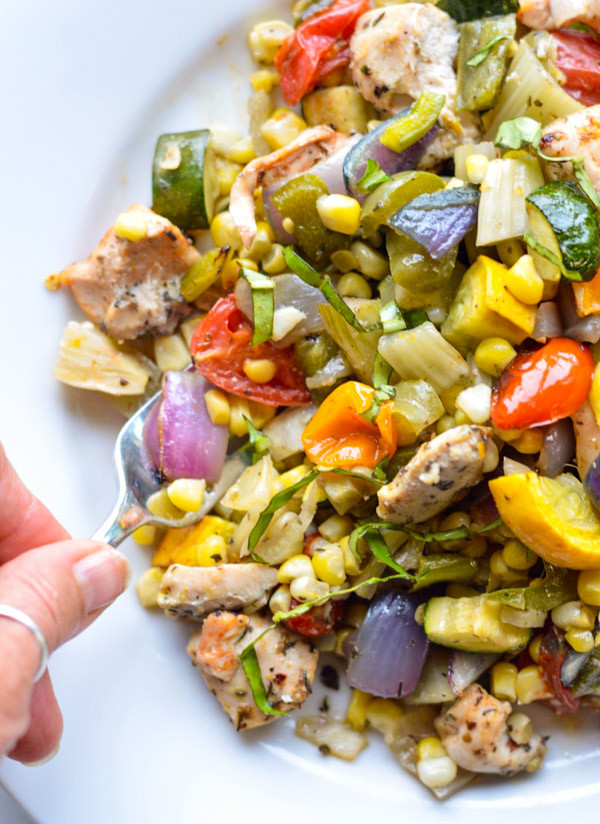 Roasted Summer Vegetables  Easy Roasted Summer Ve ables with Chicken