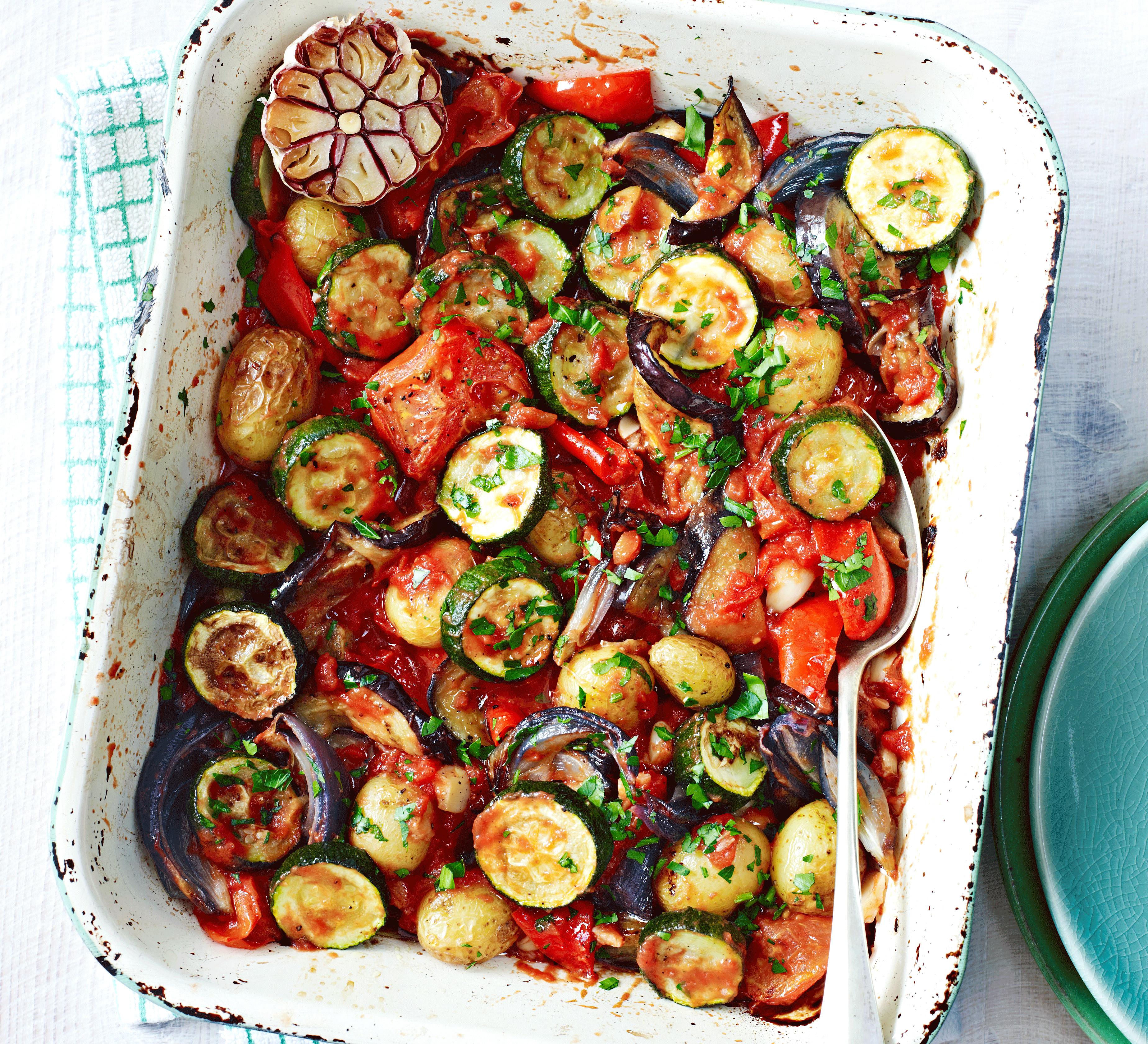 Roasted Summer Vegetables  Roasted summer ve able casserole