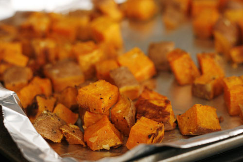 Roasted Sweet Potato Chunks  Roasted Sweet Potatoes with Garlic and Ginger Sarah s