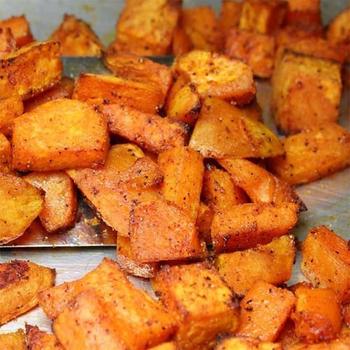 Roasted Sweet Potato Chunks  Roasted Sweet Yet Spicy Sweet Potato Chunks Home and
