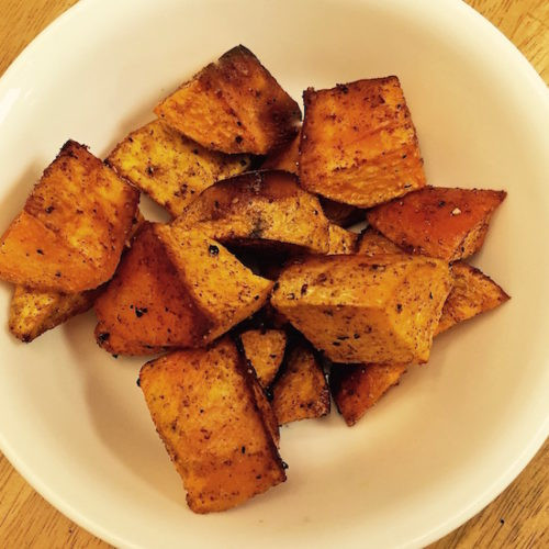 Roasted Sweet Potato Chunks  Baked Sweet Potato Chunks with Cinnamon Poppop Cooks