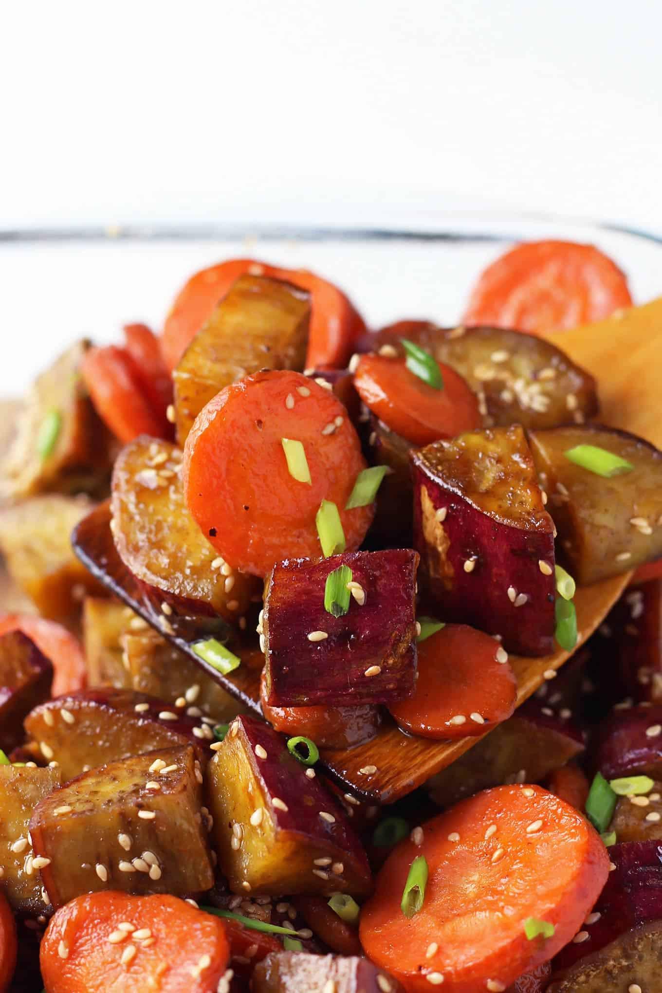 Roasted Sweet Potatoes And Carrots  Honey Sesame Roasted Sweet Potato and Carrots – LeelaLicious