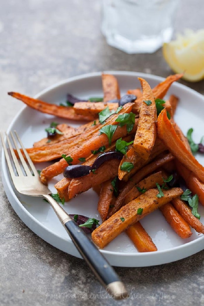 Roasted Sweet Potatoes And Carrots  Moroccan Spiced Roasted Sweet Potatoes and Carrots