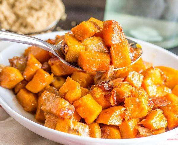 Roasted Sweet Potatoes Brown Sugar  Brown Sugar Bacon Roasted Sweet Potatoes TINSELBOX