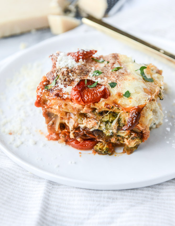 Roasted Vegetable Lasagna  Roasted Ve able Lasagna with Burrata How Sweet Eats
