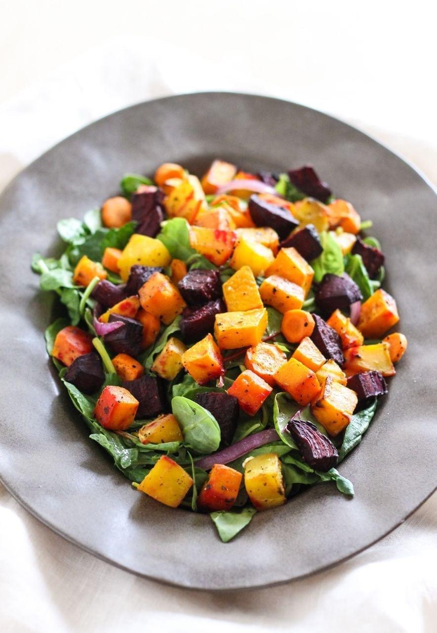 Roasted Vegetables With Balsamic Vinegar  roasted root ve ables with balsamic glaze
