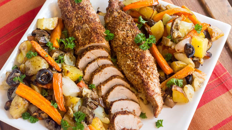 Roasting Pork Tenderloin  Roasted Pork Tenderloin with Oven Roast Ve ables