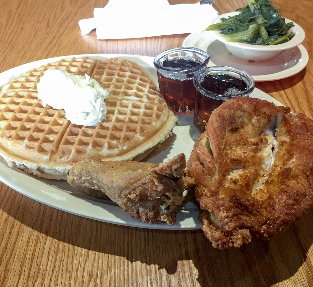 Roscoe'S Chicken And Waffles Anaheim  Scoe s 1 with side order of Greens Yelp