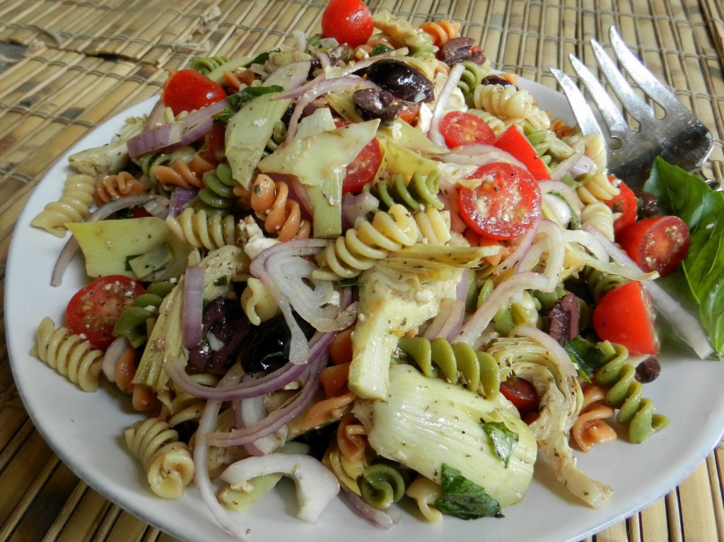 Rotini Pasta Salad  Cold Rotini Pasta Salad with Tomatoes and Artichoke Hearts
