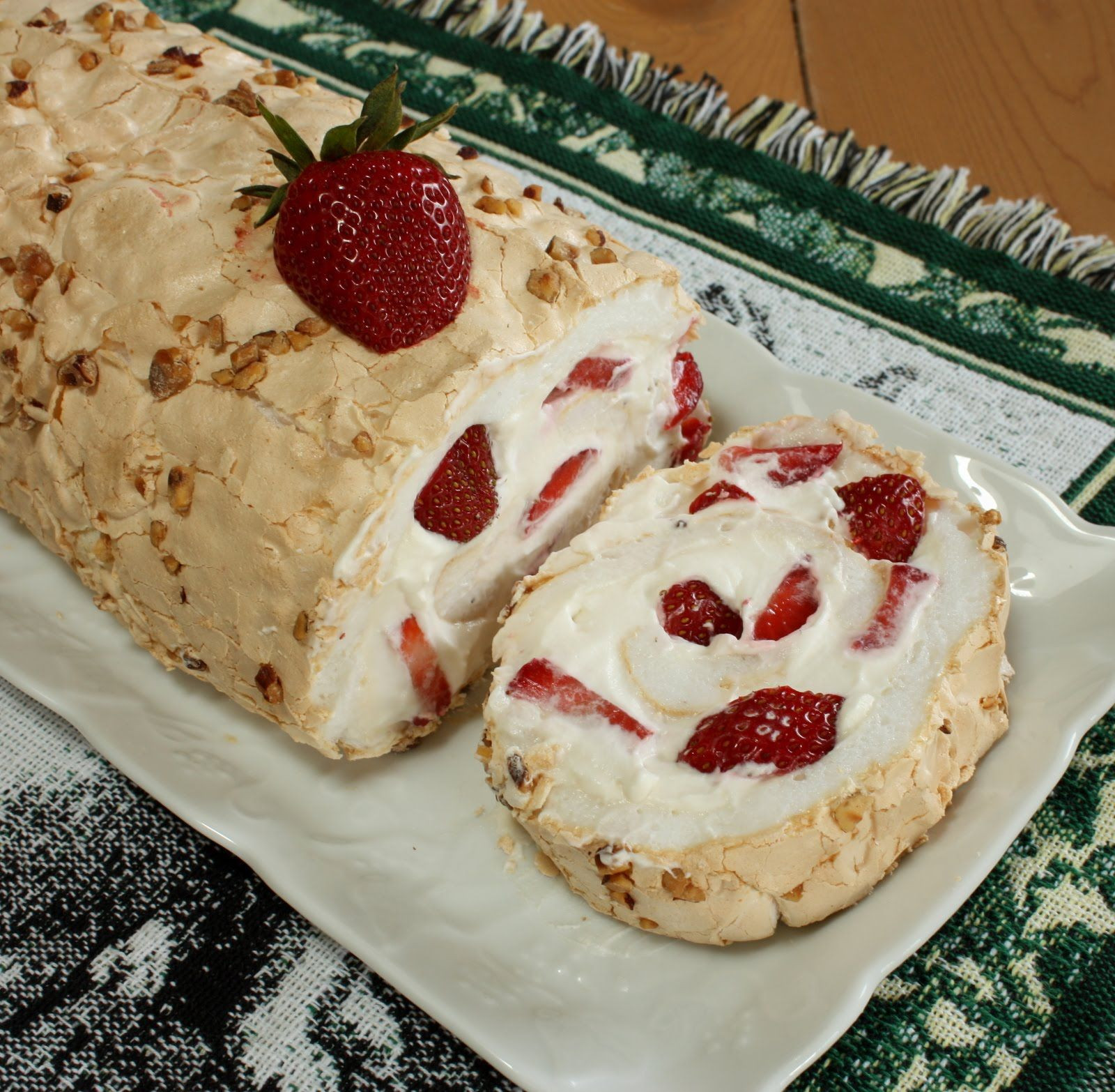 Russian Dessert Recipes  Strawberry Hazelnut Pavlova Roll
