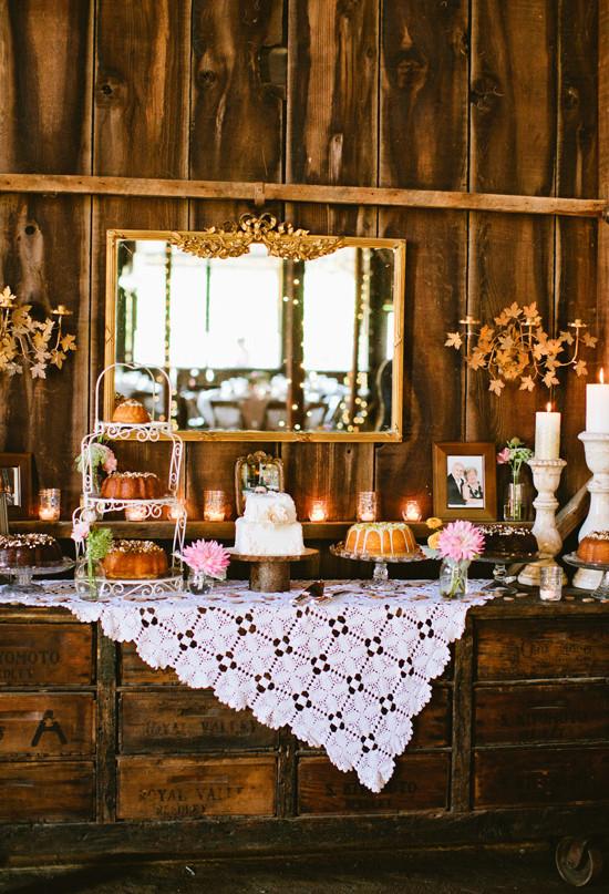 Rustic Dessert Table  Miss Lovie Fall Wedding Ideas Rustic Dessert Table