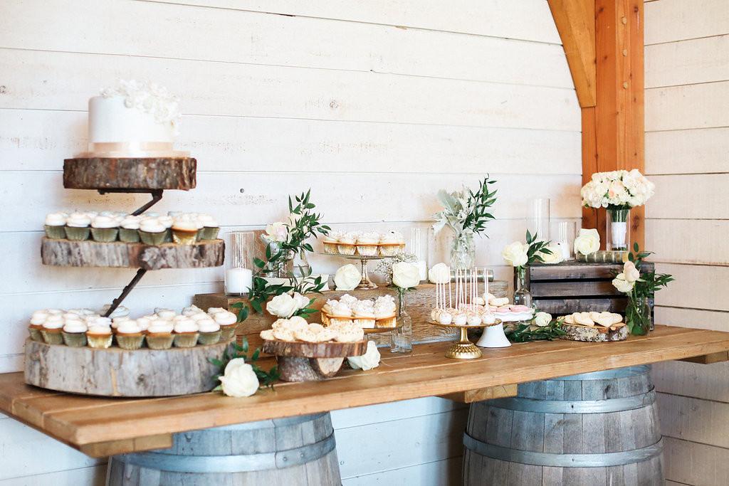 Rustic Dessert Table  Beautiful rustic pastel hued wedding at the stunning Birds