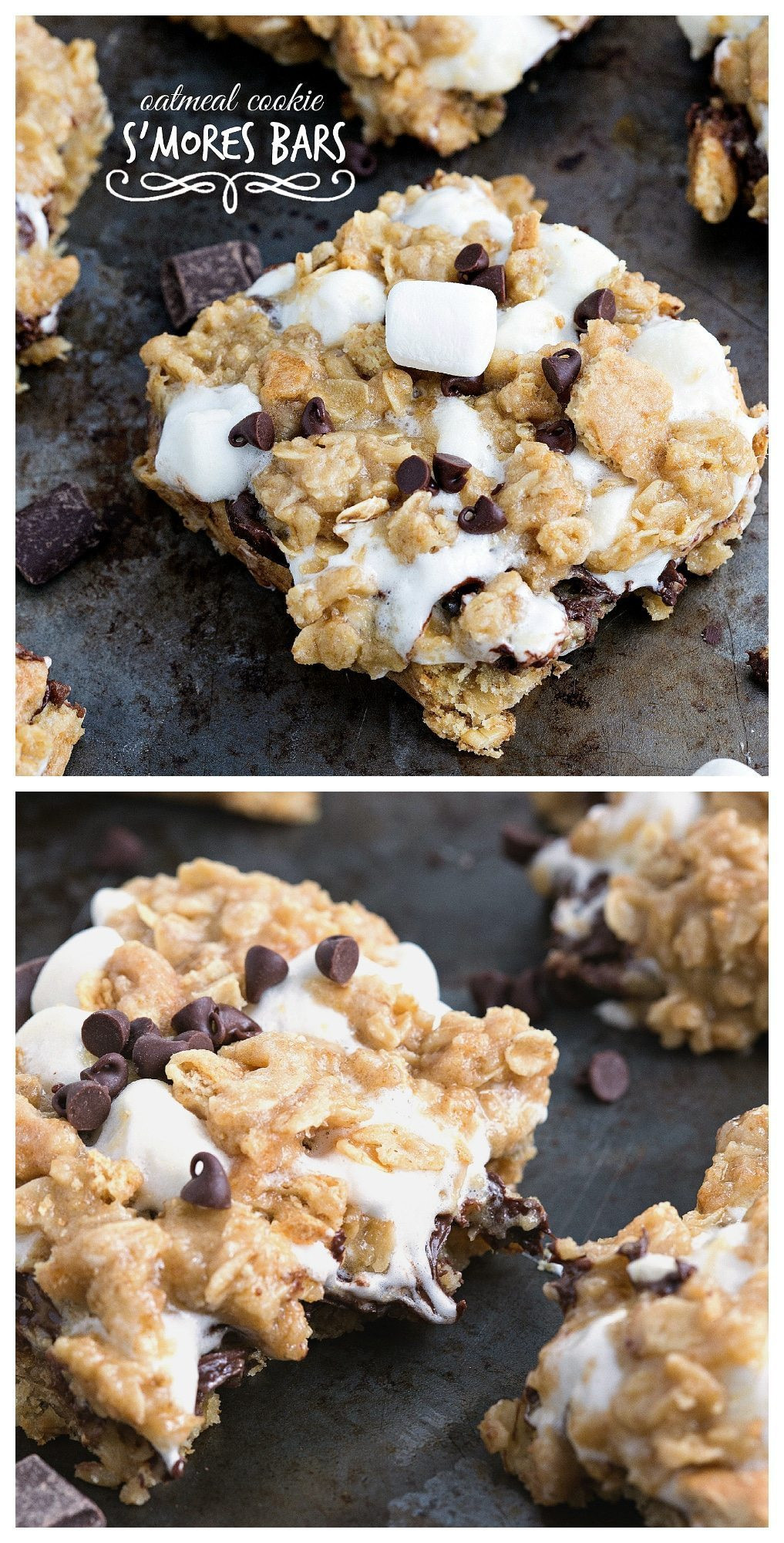 S Mores Dessert Bars  Oatmeal Cookie S'mores Gooey Bars