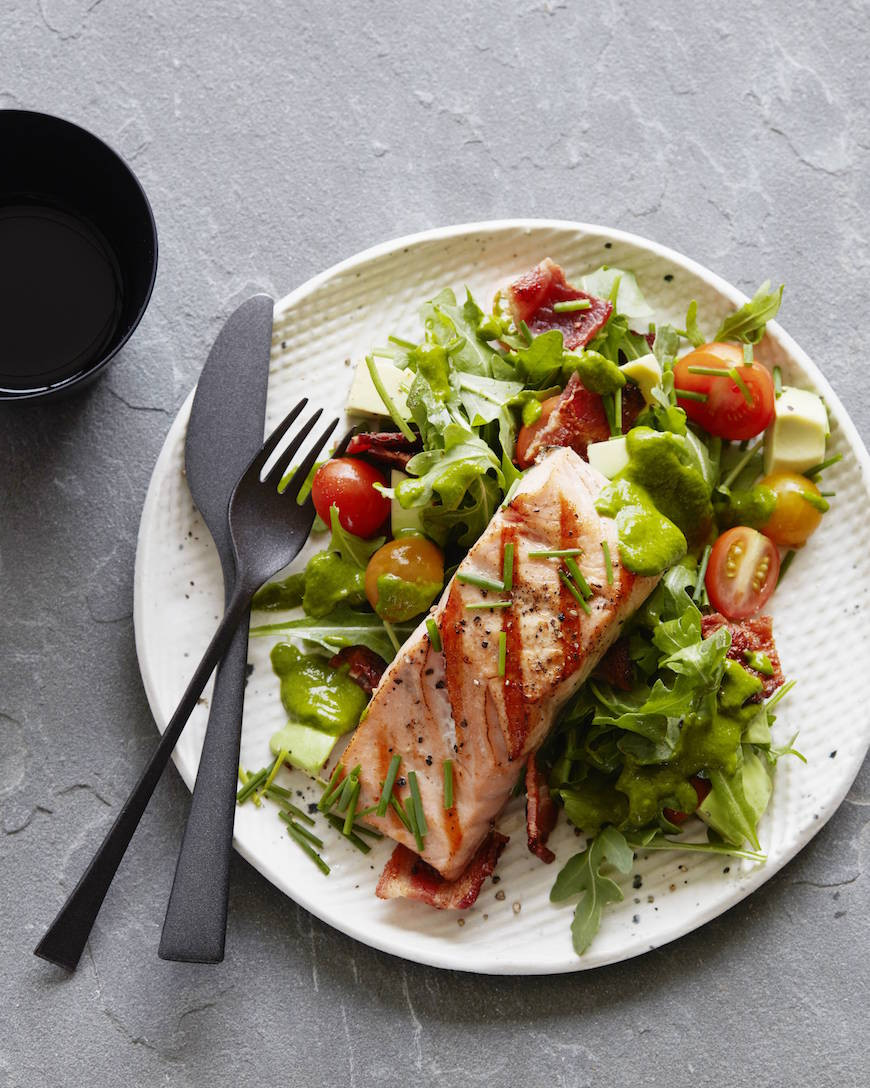 Salad With Salmon  BLT Salmon Salad Cilantro Dressing What s Gaby Cooking