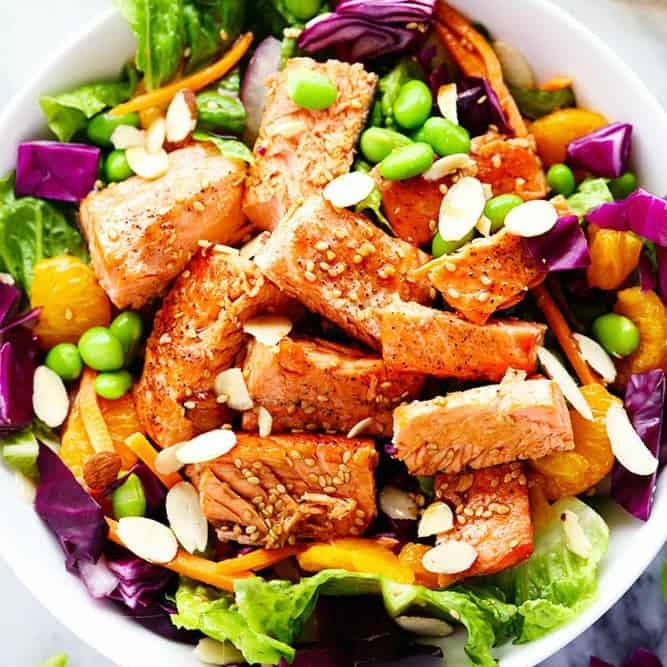 Salad With Salmon  Asian Pan Seared Salmon Salad with Honey Sesame Dressing