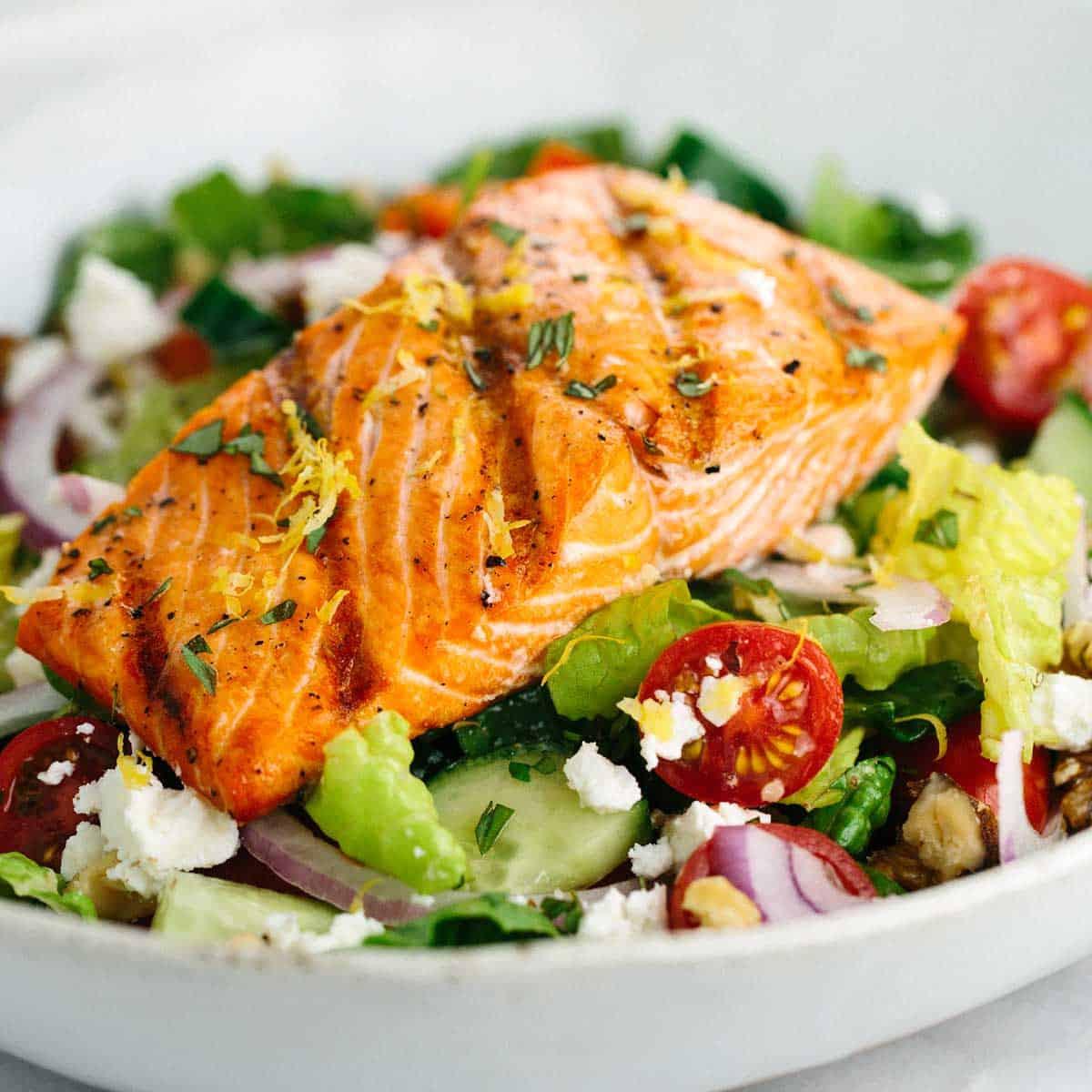 Salad With Salmon  Grilled Salmon Greek Salad with Lemon Basil Dressing