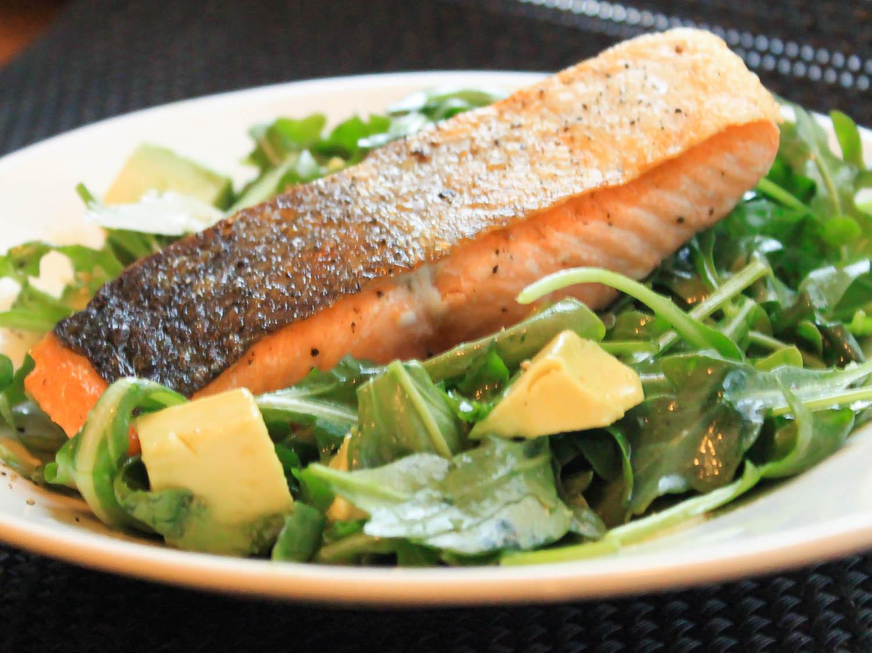 Salad With Salmon  Pan Roasted Salmon With Arugula and Avocado Salad Recipe