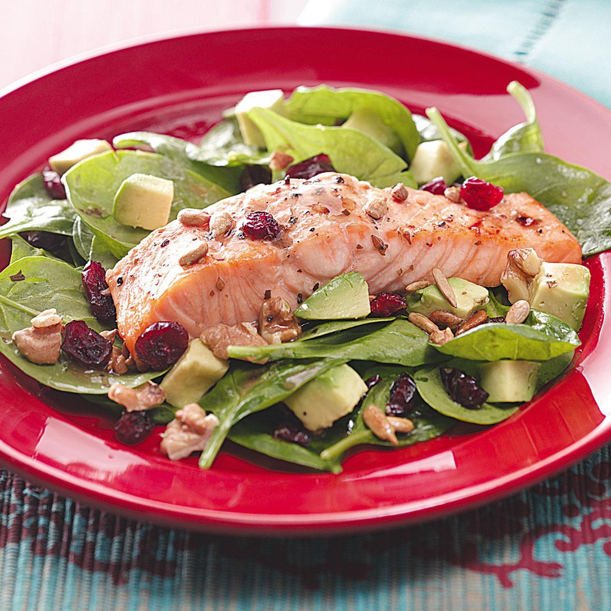 Salad With Salmon  Balsamic Salmon Spinach Salad Recipe