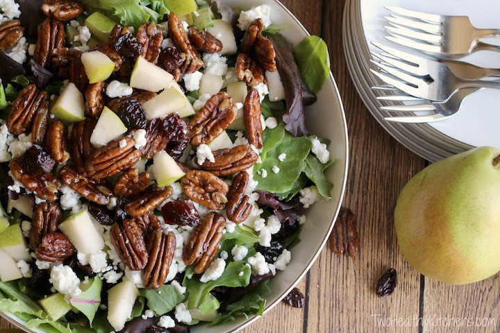 Salads For Thanksgiving  Salad with Goat Cheese Pears Can d Pecans and Maple