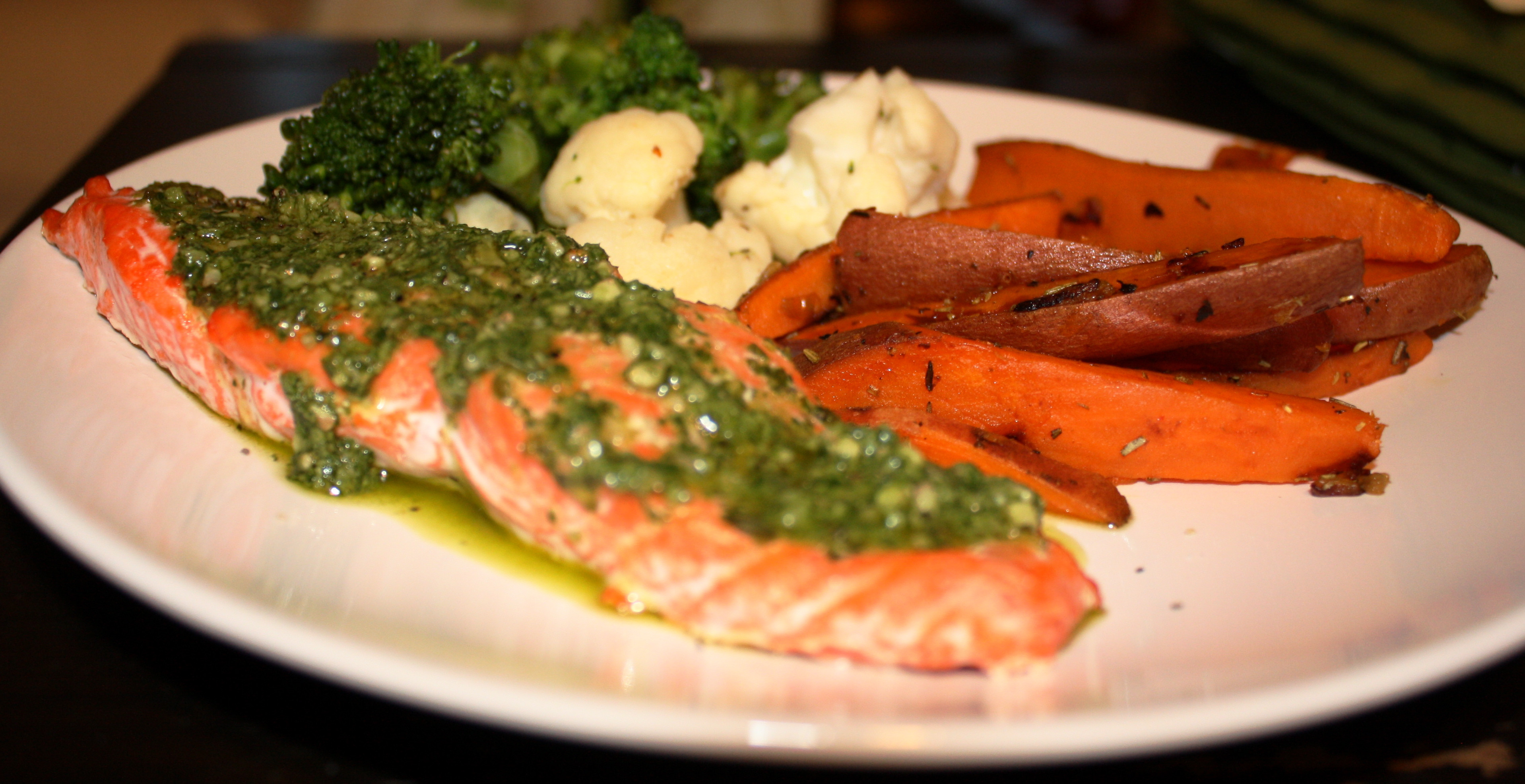 Salmon And Sweet Potato  pesto salmon sweet potato fries and broccoli and
