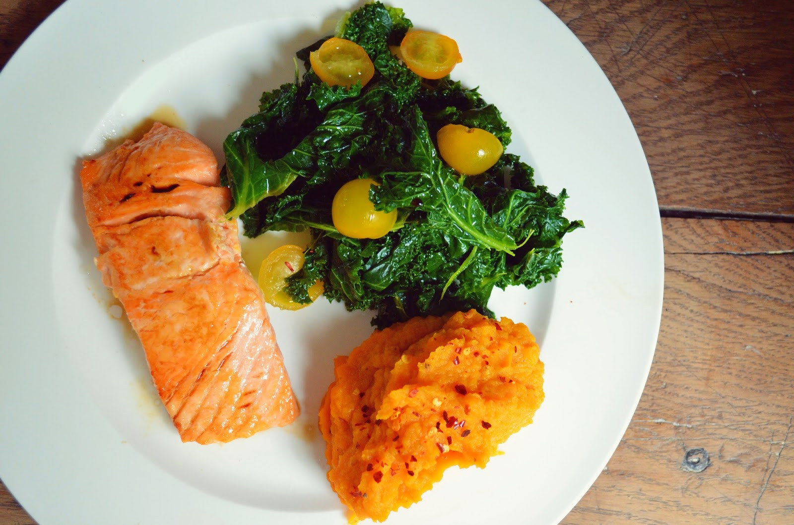 Salmon And Sweet Potato  PAN FRIED SALMON KALE SALAD & SWEET POTATO MASH