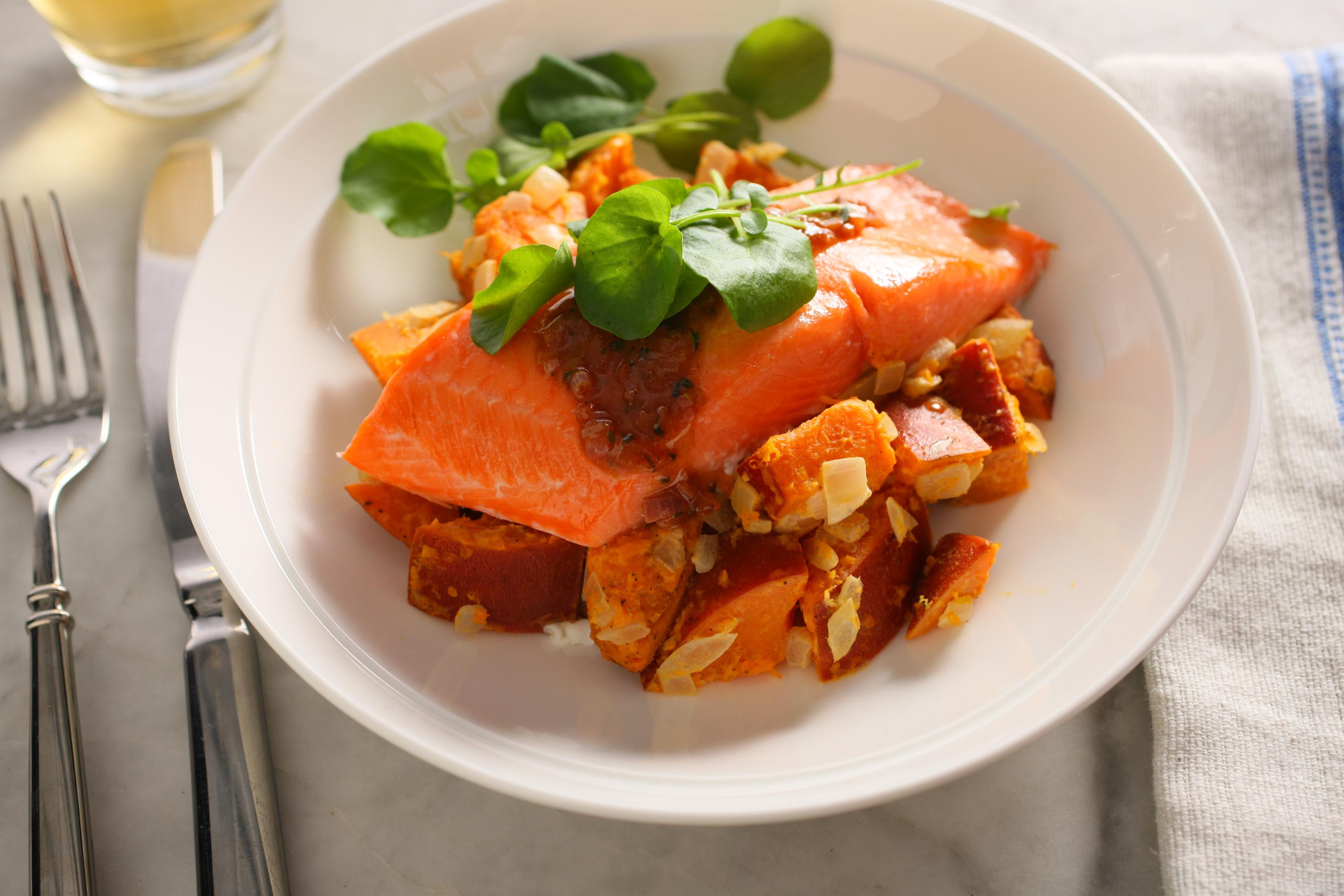 Salmon And Sweet Potato  Coho Salmon with Sweet Potato Salad and Cinnamon Sauce