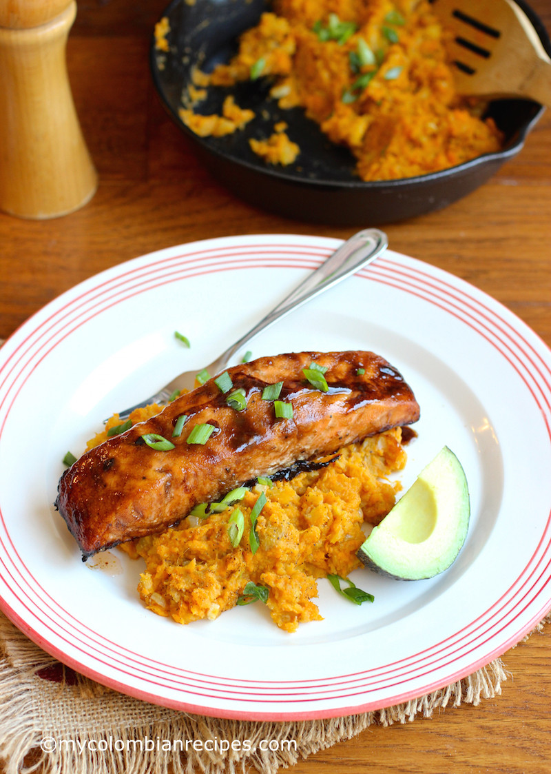 Salmon And Sweet Potato  Sweet Balsamic Salmon with Mashed Sweet Potato and