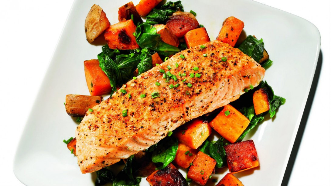 Salmon And Sweet Potato  15 Minute Feast Cumin Roasted Salmon and Sweet Potato