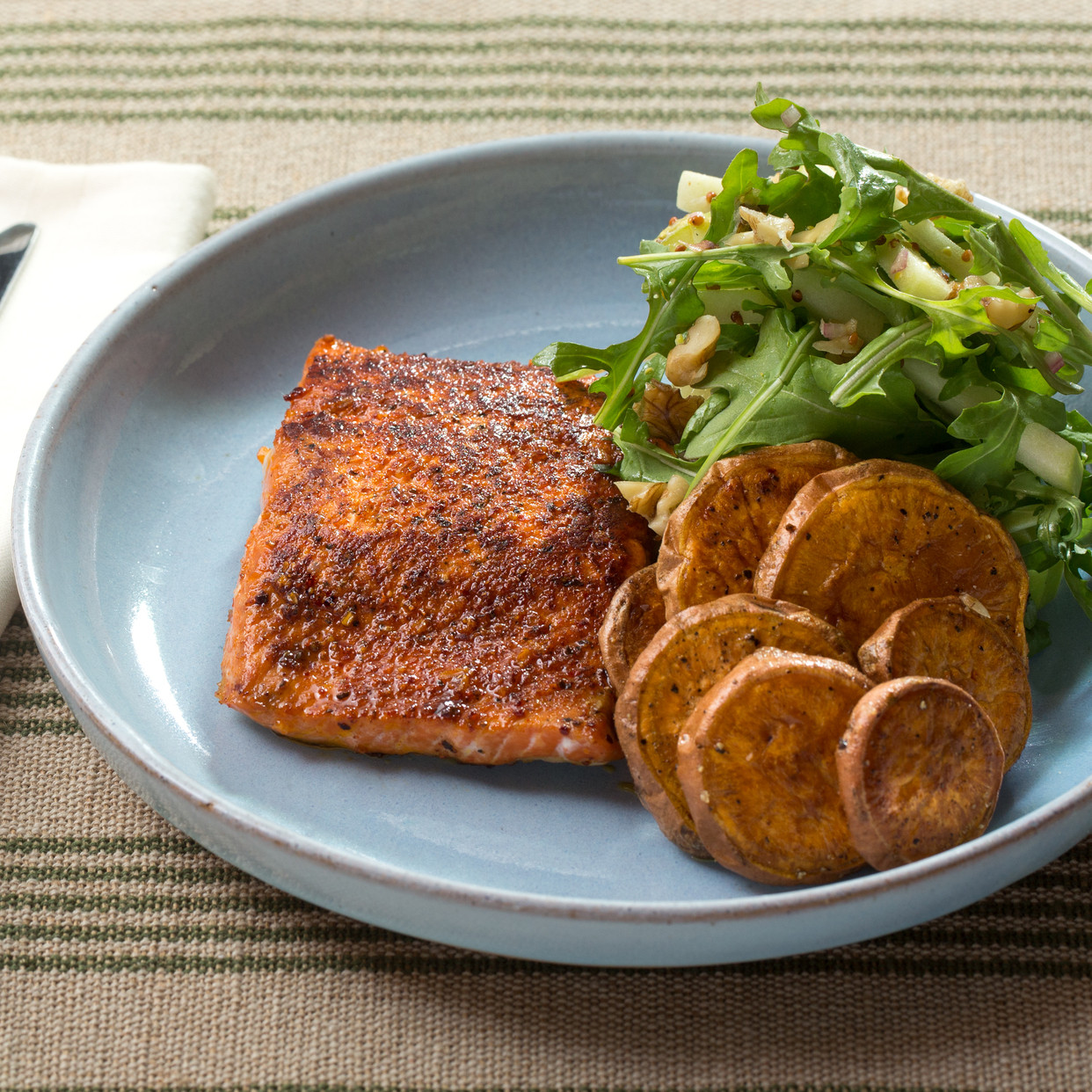 Salmon And Sweet Potato  Recipe BBQ Spiced Salmon & Roasted Sweet Potato Rounds