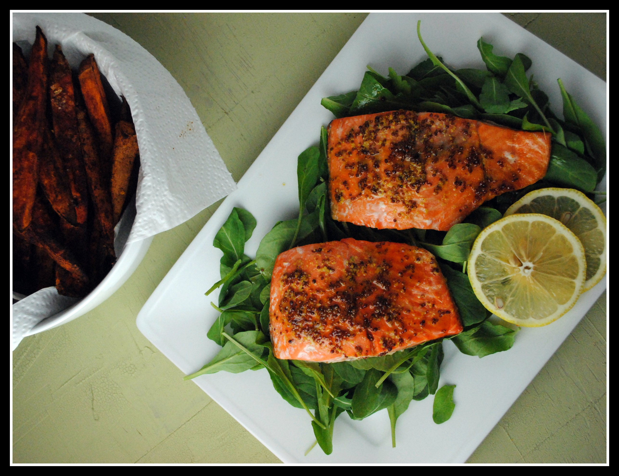 Salmon And Sweet Potato  Simple Honey Dijon Salmon and Sweet Potato Fries