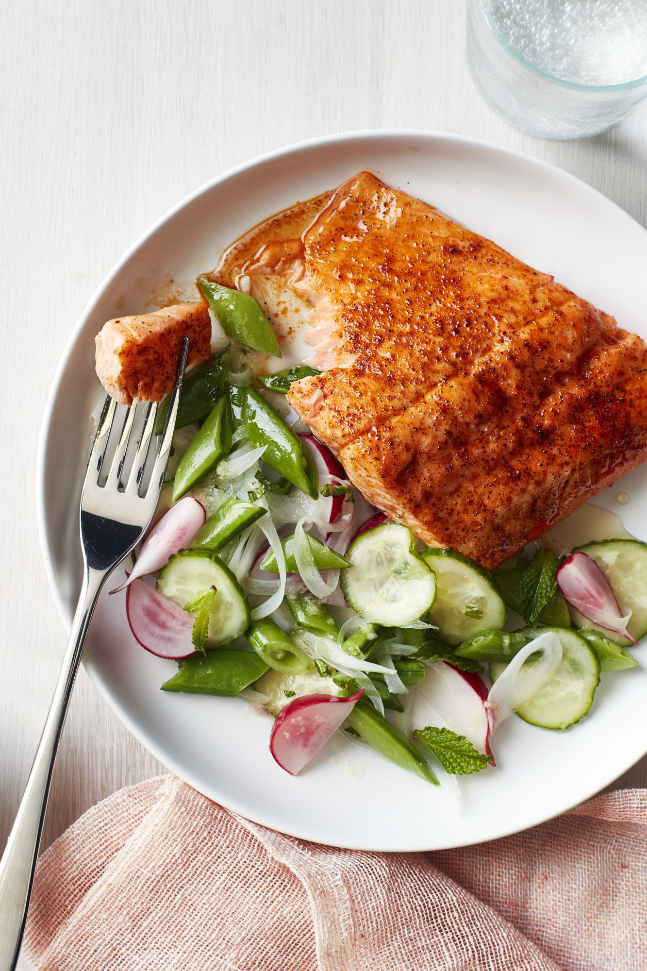 Salmon Dinner Ideas  Best Roasted Blackened Salmon with Snap Pea Salad Recipe