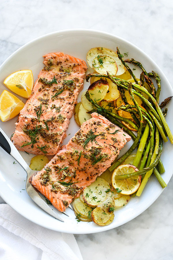 Salmon Dinner Ideas  Mustard Salmon Sheet Pan Dinner