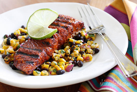Salmon Dinner Sides  Smoky Spice Rubbed Grilled Salmon with Black Beans and