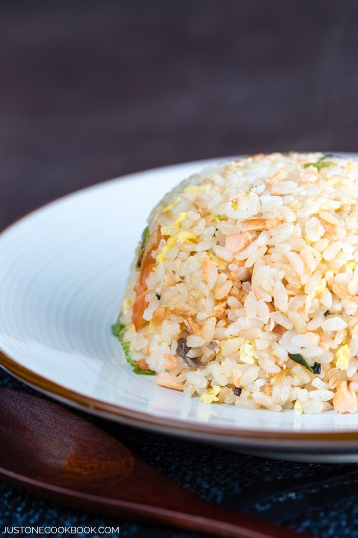Salmon Fried Rice  Salmon Fried Rice 鮭チャーハン • Just e Cookbook