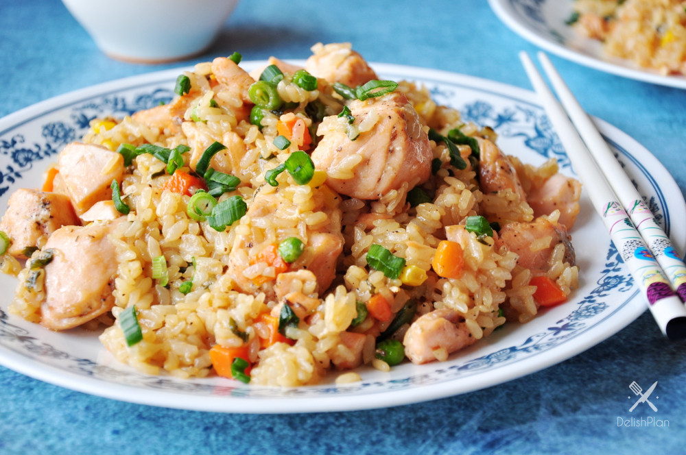 Salmon Fried Rice  Salmon Fried Rice With Green ions StreetSmart Kitchen